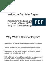 Writing a Seminar Paper