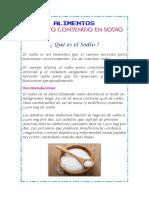 ALIMENTOS QUE CONTIENEN SODIO - SAL - NUTRICION