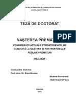 Nasterea Prematura_Consideratii Actuale Etiopatogenice de Conduita La Nastere Si Postpartum Ale Fetilor Prematuri