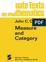 Measure and Category, John C. Oxtoby