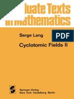 Cyclotomic Fields II, Serge Lang