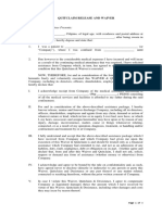 Template of Waiver, Quitclaim and Release