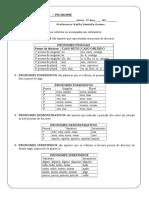 Lista de Exercícios Pronomes