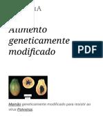 Alimento Geneticamente Modificado – Wikipédia, A Enciclopédia Livre