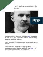 Qué Quiso Decir Nietzsche Cuando Dijo Dios Ha Muerto
