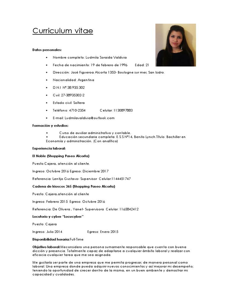 Curriculum Vitae Ludmila Valdivia