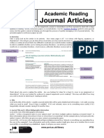 Academic Reading of Journal Articles