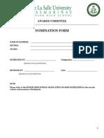 SHS Awards Nomination Form