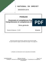DNB 2018 FRANÇAIS GRAMMAIRE ET COMPREHENSION SUJET