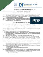 Regulament Cazare UVT 2014-2015