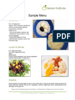 Sample Menu for the Gerson Therapy