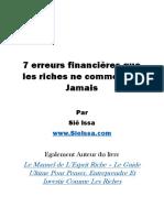 7 Erreurs Financières Que Les Riches Ne Commettent Jamais