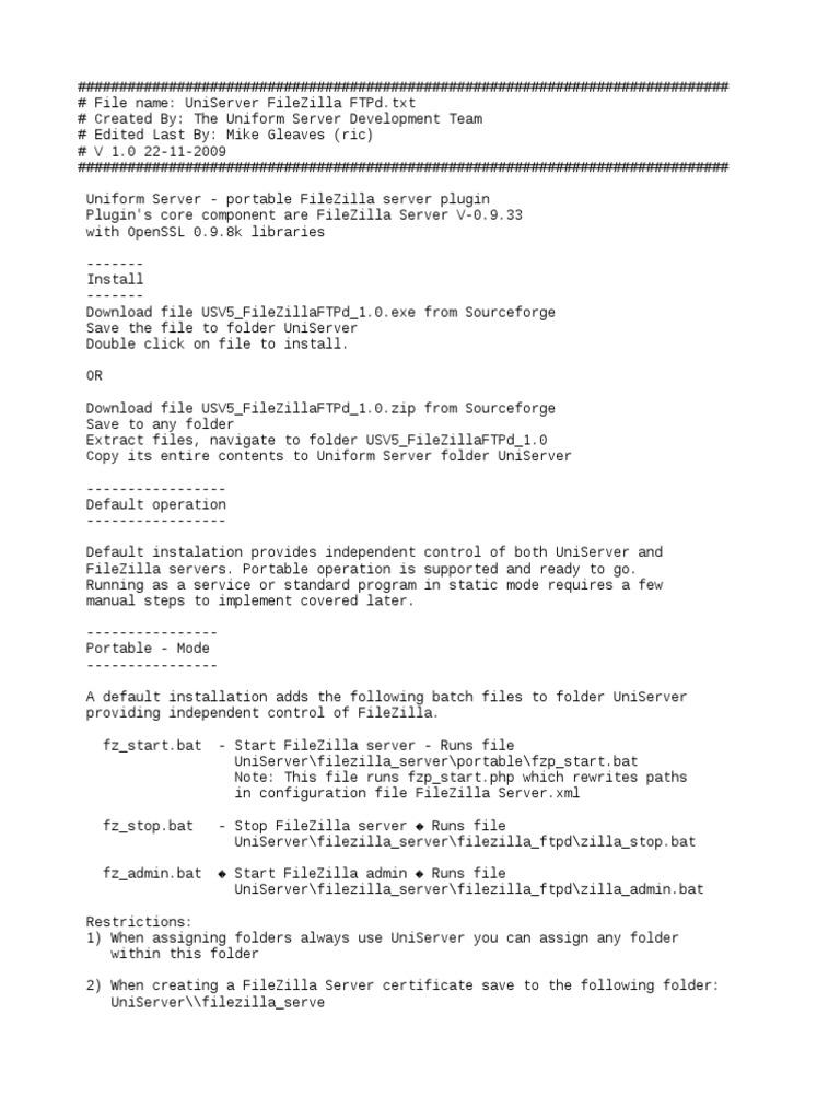 UniServer FileZilla FTPd txt | Computer Data | Computing Platforms