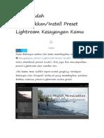 Cara Mudah Memasukkan Present Lightroom