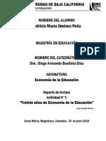 TREINTA AÑOS DE LA ECONOMÍA DE LA EDUCACIÓN