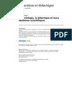 Educationdidactique 86 Vol 1 n 1 La Sociologie La Didactiqueet Leurs Domaines Scientifiques