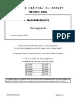 Sujet de mathématiques du brevet 2018