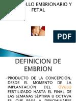 Desarrollo Fetal Yembrionario