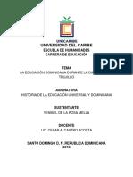 La Educación Dominicana Durante La Dictadura de Trujillo