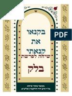 Rav Dovid Dudkevitch, Roeh Yisrael - Yitzhar, P' Balak