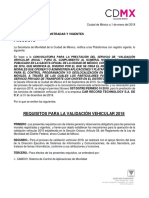 Requisitos Validacion Vehicular 2018 CD