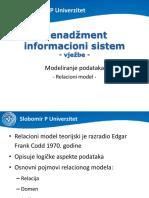 MIS Vjezbe - Modeliranje Podataka - Relacioni Model