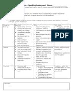 yr 4 technologies speaking assessment