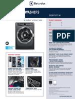 Electrolux Front Load EFLS617S TT / IW Washer Specification Sheet