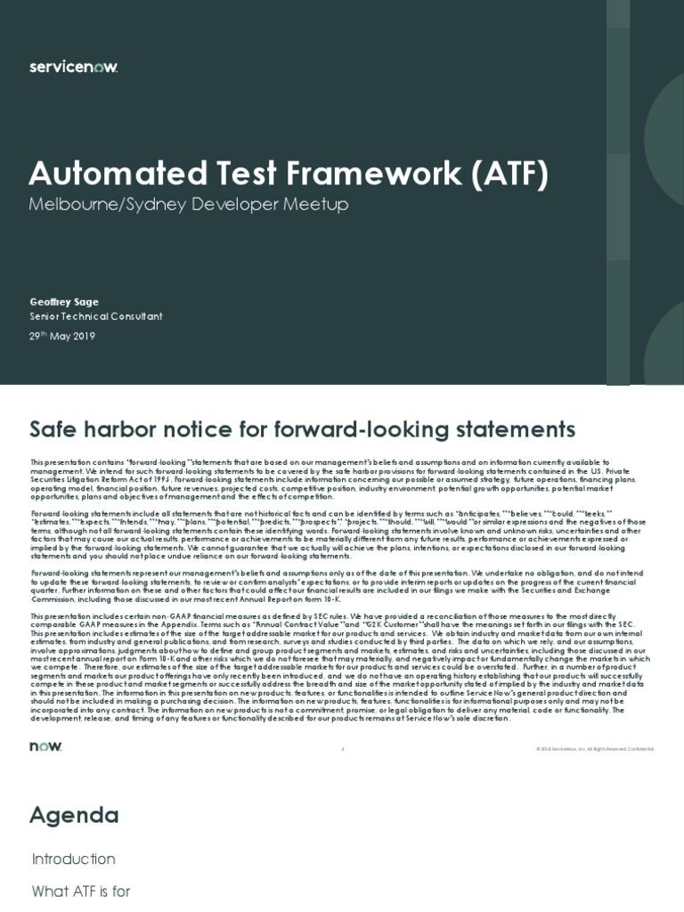ServiceNow Automation Test Framework | Form 10 K | Risk