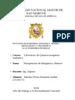 2do Informe de Laboratorio de química Inorgánica ( UNMSM)