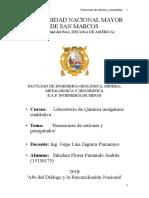 4to  Informe de Laboratorio de química Inorgánica ( UNMSM)