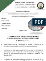 CONVERSIÓN DE ESTADOS FINANCIEROS CONSOLIDADOS  A MONEDA EXTRAJERA