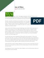 Medicinal Value of Okra