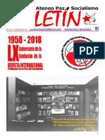 Boletin del Ateneo Paz y Socialismo de julio de 2018