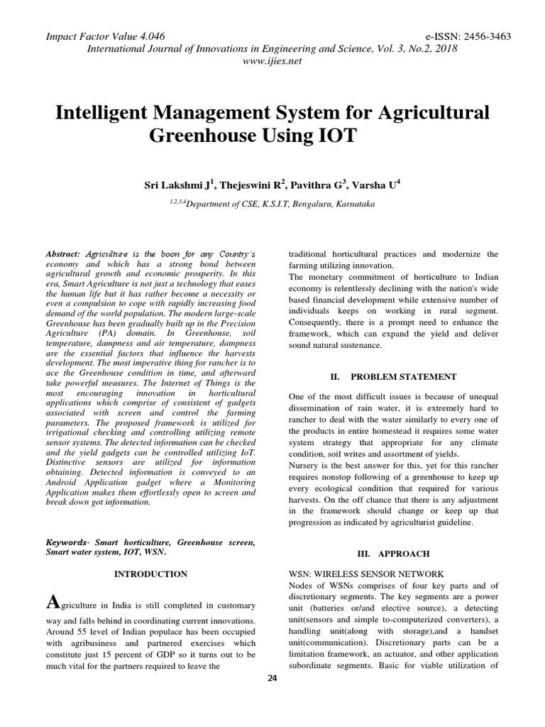 Intelligent Management System for Agricultural Greenhouse