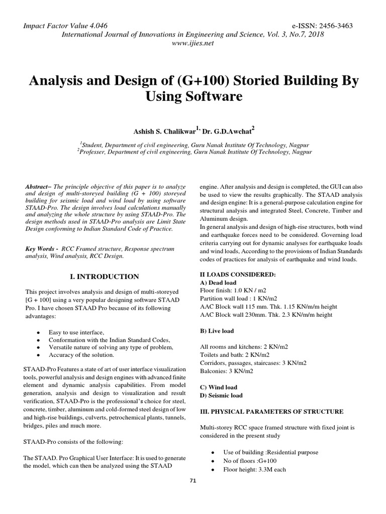 Analysis And Design Of G 100 Storied Building By Using Software Structural Load Structural Analysis