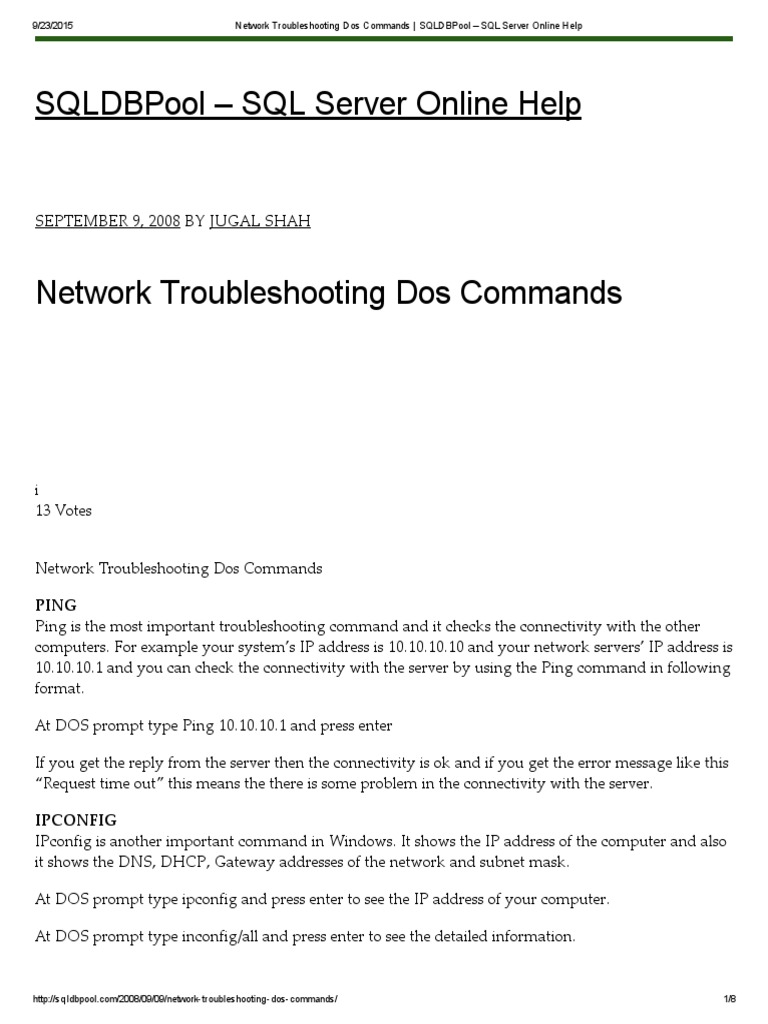 Network Troubleshooting Dos Commands _ SQLDBPool – SQL