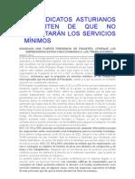 LOS SINDICATOS ASTURIANOS ADVIERTEN DE QUE NO RESPETARÁN LOS SERVICIOS MÍNIMOS