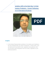 Medical Representative (MR) is the Best Way To Enter The Pharma Marketing Profession - Suresh Paithankar, Head of International Business Says in Conversation With MentorClub.in