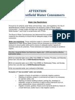 Westfield Water Restriction July 2018