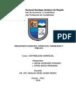 Presupuesto Maestro, Operativo, Financiero y Publico