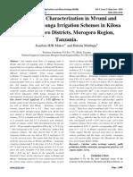 Soil Fertility Characterization in Mvumi and Mbogo - Komtonga Irrigation Schemes in Kilosa and Mvomero Districts, Morogoro Region, Tanzania.