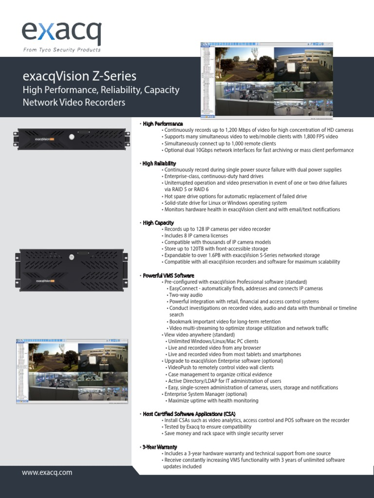 Z-series IP Camera Servers | Linux | Microsoft Windows