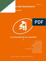 Tópicos Del Seminario 31-2014 - La Inmanencia en Cuestión I