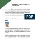 Factores Del Medio Ambiente Interno y Externo de La Mercadotecnia de La Organización