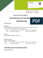 Course Outline Earthquake