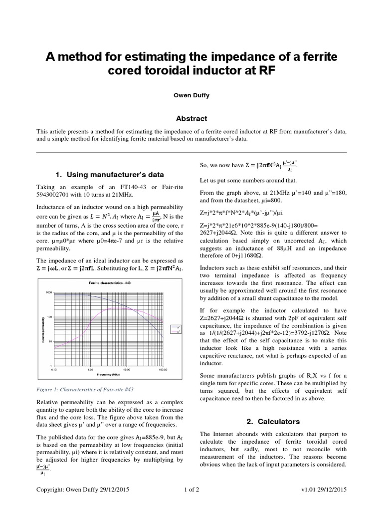 FerriteToroidInductor_Zestimate | Inductor | Electronics