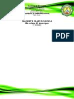 Teacher's Class Schedule