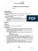 OUTLINE Business Objects XI 3.0 Universe Design