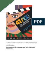 41 Festival Internacional de Cine Independiente de Elche. Sección Oficial Fes Curt